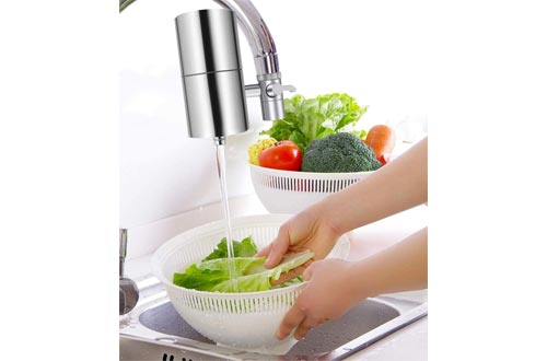 HOMY Faucet Mount Water Filter, SUS304 Stainless Steel Housing & Multiple High Precision Filtration System Reduce Chlorine