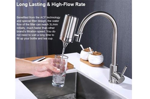 ESOW Faucet Mount Water Filter, SUS304 Stainless Steel Reduce Chlorine