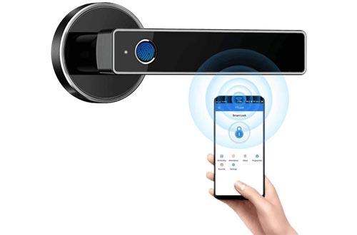 Biometric Fingerprint Door Lock,Security Simplified Door Lever WiFi Bluetooth APP Access Smart Digital Fingerprint Door Handle Lock