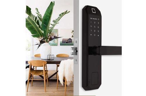 Fingerprint Door Lock, Satin Nickel Digital Biometric Door Lock Touchscreen Keypad Keyless Smart Lock Electronic Entry Lock with Reversible Lever and Automatic Locking for Wood Door Office Home Door