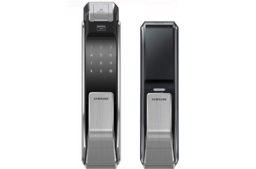 Samsung SHS-P718-LMK Push Pull Biometric Touchscreen Digital Door Lock, Code Fingerprint and RFID Entry, Small Mortise (AML-220)