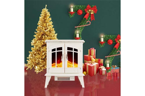 """23"""" Electric Fireplace Heater,1500W Freestanding Stove Portable Fireplace Heater with Realistic Log Frame"""