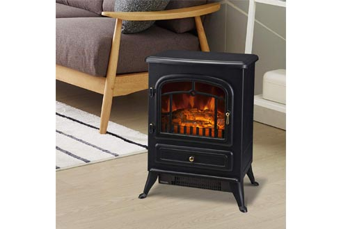 HOMCOM Freestanding Electric Fireplace Heater with Realistic Flames