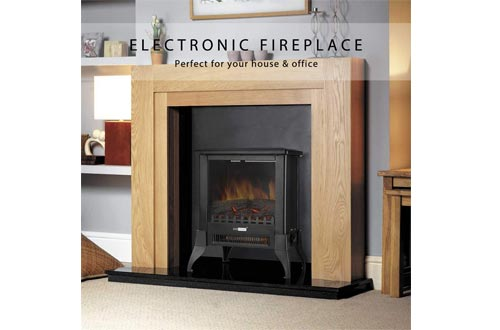 VIVOHOME 17 Inch Height Freestanding Electric Fireplace Stove Heater with Realistic 3D Dancing Flame Effect
