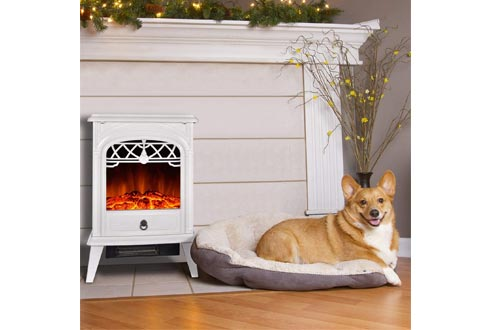 GMHome Free Standing Electric Fireplace Cute Electric Heater Log Fuel Effect Realistic Flame Space Heater