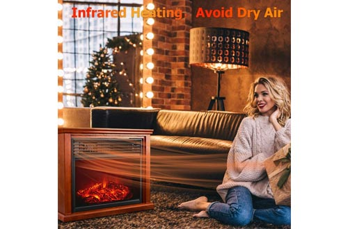 Electric Fireplace Heater with Remote - 1500W Infrared Heater with 3D Flames Effect, 800 Sq Ft Coverage, Space Heater with Thermostat