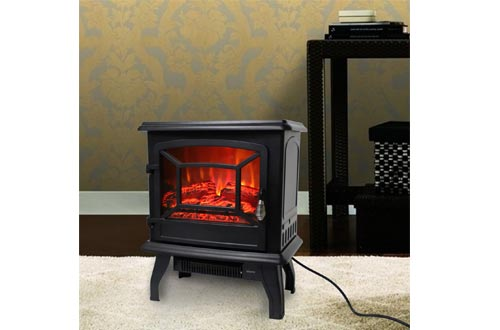 """ROVSUN 20"""" H Electric Fireplace Stove Space Heater 1400W Portable Freestanding with Thermostat, Realistic Flame Logs Vintage Design for Corners"""