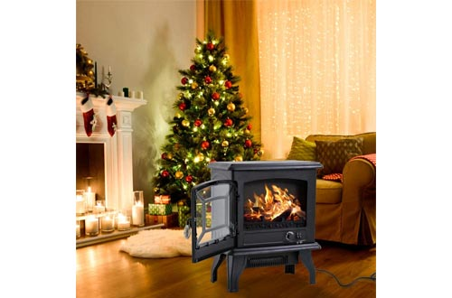 """Electric Fireplace Heater 20"""" Freestanding Fireplace Stove Portable Space Heater with Thermostat for Home"""