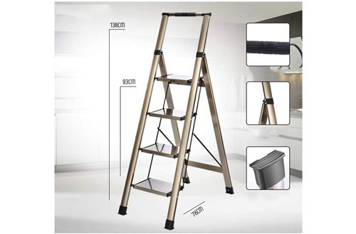 XSJZ Folding Ladder, Thickened and Reinforced All-Aluminum D-Tube, with Tool Table, Suitable for Indoor and Outdoor Folding Ladder (Color : A)