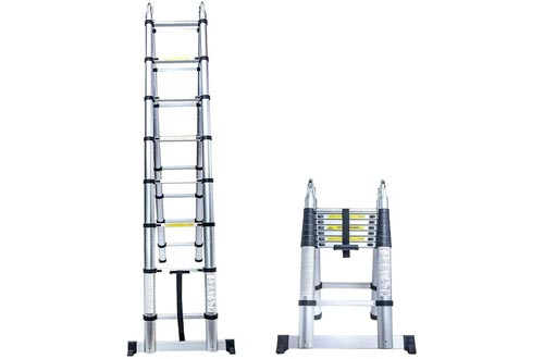 Senrob Aluminum Telescopic Extension Ladder,16.5 ft Extendable Folding Multi-Purpose Ladder Max 330 lbs. Capacity