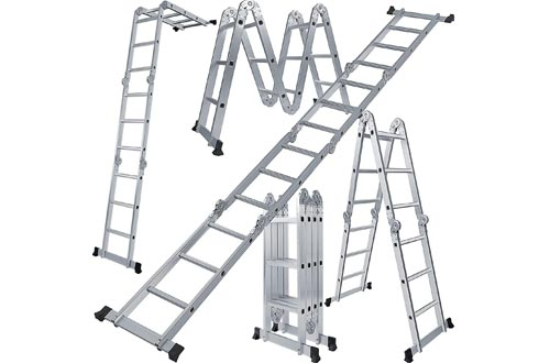 OxGord Aluminum-Multi-Folding-Ladder - Lightweight and Safety-Heavy-Duty Extension, Dual-Height 12.5 feet, 330 lb. Max Capacity