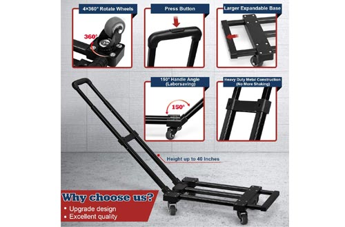 4 Wheels Rotate Folding Hand Truck, 280 lbs/127 Kg Capacity Heavy Duty Folding Luggage Cart with Stretchable Expansion Base, Fold Up Dolly for Luggage/Personal/Travel/Auto/Moving/Office Use by lenbest