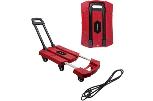 AODAILIHB Portable Folding Luggage Cart 360° Rotate Wheels Load 440 pounds (Red)