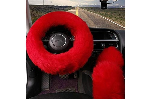 Yontree Winter Warm Faux Wool Handbrake Cover Gear Shift Cover Steering Wheel Cover