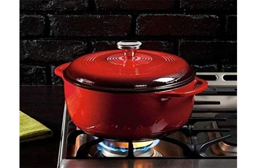 Lodge 6 Quart Enameled Cast Iron Dutch Oven. Classic Red Enamel Dutch Oven
