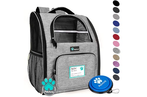 PetAmi Deluxe Pet Carrier Backpack for Small Cats and Dogs, Puppies | Ventilated Design, Two-Sided Entry, Safety Features and Cushion Back Support
