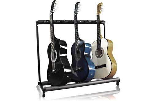 Best Choice Products Multi-Guitar Stand, 7 Instrument Folding Storage Display Rack - Black