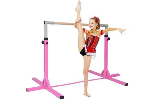 """Cchainway Horizontal Gymnastics Bar for Kids, Height Expandable Junior Training Bar, Stainless Steel 36""""-59"""" Height Adjustable, Gymnasts 1-4 Levels, 220 lbs Weight Capacity"""