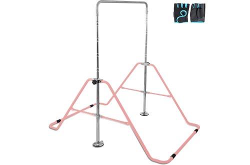 Macticy Gymnastics Bar Adjust Horizontal Bar Foldable Storage Stable Kip Bar Multifunction Expandable Junior Training Bar for Kids Home Training