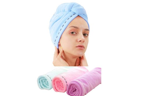 3 Pack Microfiber Hair Towel Wrap BEoffer Super Absorbent Twist Turban Fast Drying Hair Caps with Buttons Bath Loop Fasten Salon Dry Hair Hat Pink Blue Purple