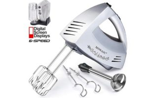 Hand Mixer Electric MOSAIC Kitchen Mixer 5 Stainless Steel Attachments with Turbo Function Included and Storage Base