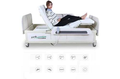 Multi-Function Electric Manual Rotating Hospital Nursing Bed with ABS BedHead, Adjustable Hospital Beds for Home Care Old People Use