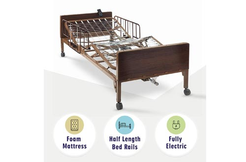 "Full Electric Hospital Bed with Premium Foam Mattress and Half Rails Included - for Home Care Use and Medical Facilities - Fully Adjustable, Easy Transport Casters, Remote - 80"" x 36"""