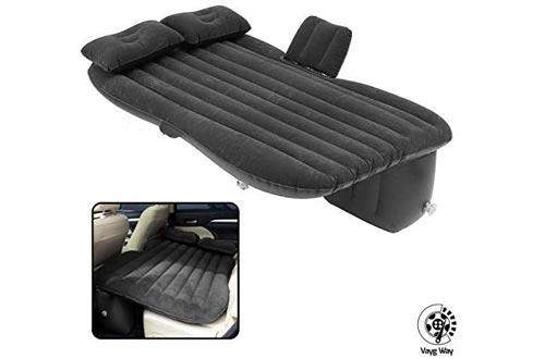 VaygWay Inflatable Car Air Mattress – Air Bed with Pump Kit – Back Seat Travel Air Mattress – Camping Vacation Blow up Bed