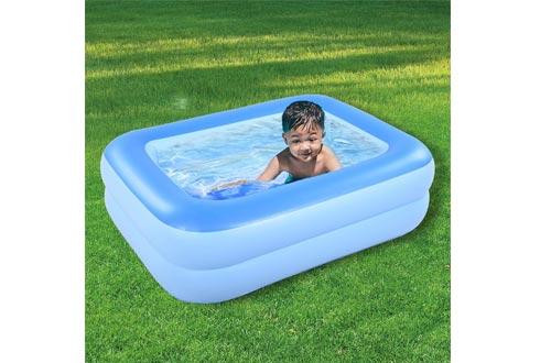 "HIWENA Inflatable Kiddie Pool, 45"" Blue Kids Swimming Pool Summer Water Fun Bathtub with Inflatable Soft Floor"