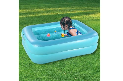 "HIWENA Inflatable Kiddie Pool, 45"" Green Kids Swimming Pool Summer Water Fun Bathtub with Inflatable Soft Floor"