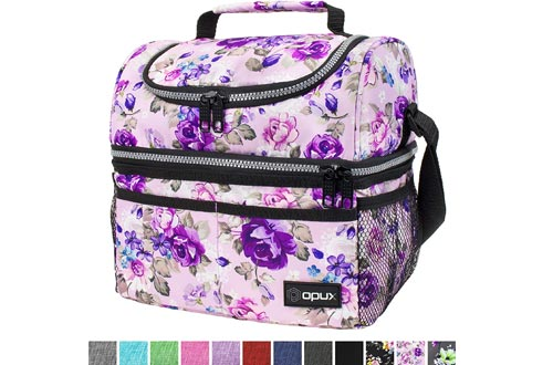 Insulated Dual Compartment Lunch Bag for Women, Ladies | Double Deck Reusable Lunch Box Cooler with Shoulder Strap, Leakproof Liner | Medium Lunch Pail for School
