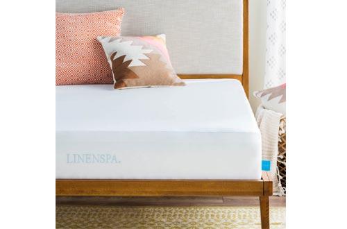 LINENSPA Premium Smooth Fabric Mattress Protector-100% Waterproof-Hypoallergenic-Vinyl Free Protector