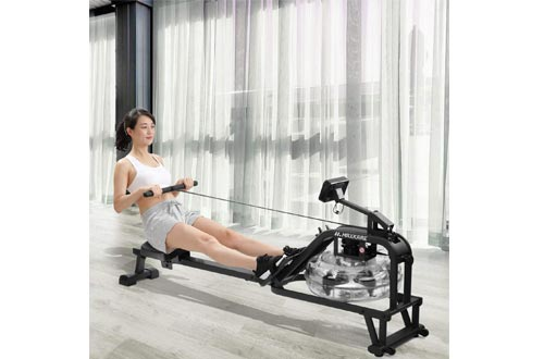 MaxKare Water Rowing Machine Water Rower with Water Resistance & Large LCD Monitor for Home Use