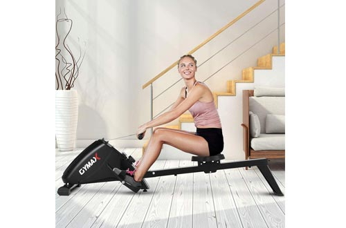 Goplus Magnetic Rowing Machine Foldable Exercise Rower with 10-Level Tension Resistance System