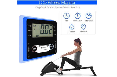 Nightcore Magnetic Rowing Machine, Folding Exercise Rower with10 Adjustable Resistance Levels & LCD Monitor & Large Pivoting Pedals, Full Body Exercise Equipment for Home Use