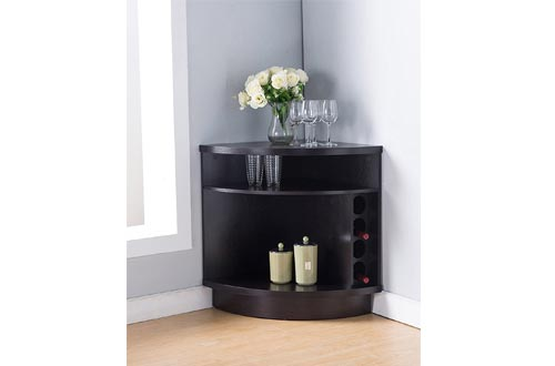 Smart Home 161722 Corner Wine Cabinet, Red Cocoa Color, Buffet Table Sideboard