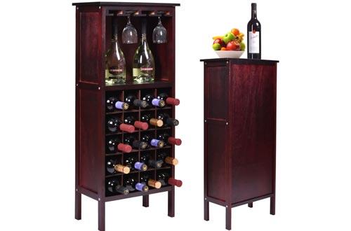 Bottle Holder Storage New Wood Wine Cabinet w/ Glass Rack Kitchen Home Bar