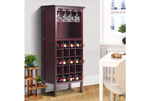 Giantex 20 Bottle Wine Cabinet Wood Wine Rack Bottle Holder Storage Display Shelf Wine Bottle Organizer w/Glass Hanger