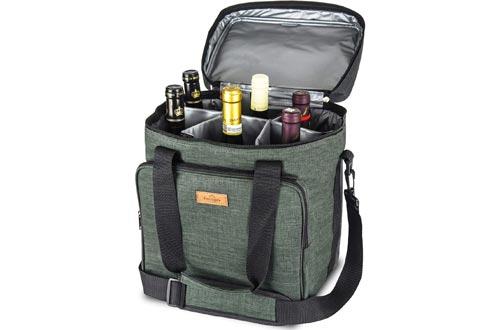 Freshore Insulated Wine Carrier 6 bottle Bag Tote Removable Padded Divider - Portable Travel Padded Cooler Carrying Canvas Case Adjustable Shoulder Strap