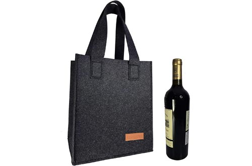 Fisioan 6 Bottle Wine Carrier Tote Reusable Grocery Bags for Travel, Camping and Picnic, Perfect Wine Lover Gift