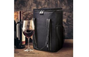 Vina 4 Bottle Wine Carrier - Travel Insulated Wine Carrying Case Cooler Tote Bag with Detachable Divider and Strong Handle