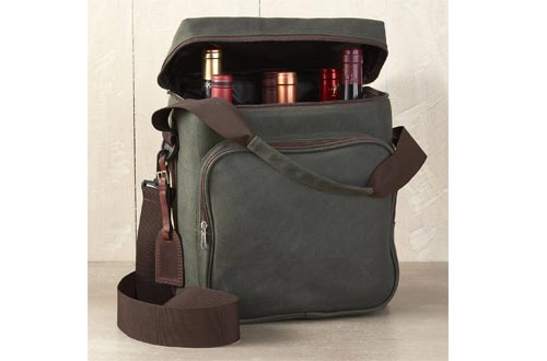 Wine Enthusiast 6-Bottle Wine Bag - Waxed Canvas Weekend Wine Carrier