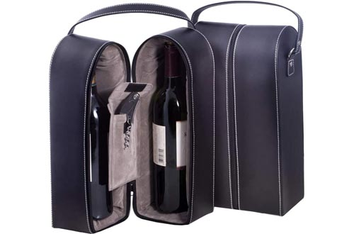 Bey-Berk Leather Wine Bottle Carrier Caddy Travel Tote Bag & Tool Set