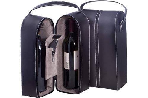 Bey-Berk Leather Wine Bottle Carrier Caddy Travel Tote Bag & Tool Set