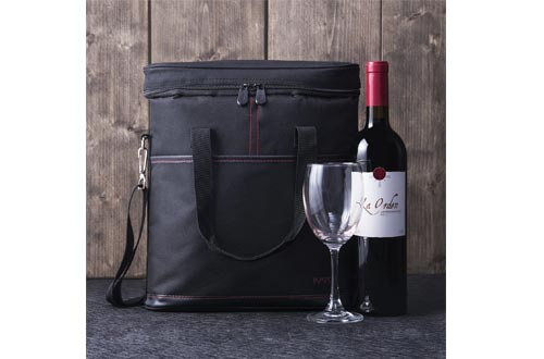 Tirrinia Insulated Wine Carrier - 3 Bottle Travel Padded Wine Carry Cooler Tote Bag with Handle and Adjustable Shoulder Strap