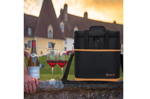 Premium Insulated 6 Bottle Wine Carrier Tote Bag | Wine Travel Bag with Shoulder Strap and Padded Protection