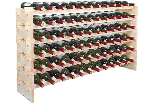 Smartxchoices Stackable Modular Wine Rack Floor Wine Storage Stand Wooden Wine Holder Display Shelves