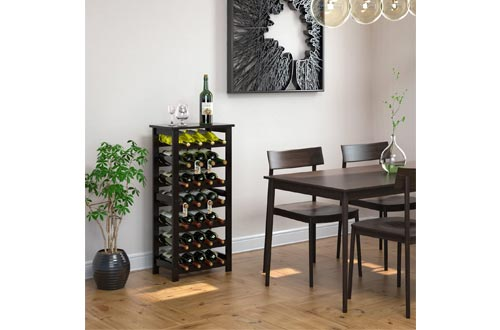 Homfa Bamboo Wine Rack, 7 Tier Free Standing Wine Storage Rack Display Shelves 28 Bottles Capacity Storage Standing Table, Wobble Free for Home Kitchen