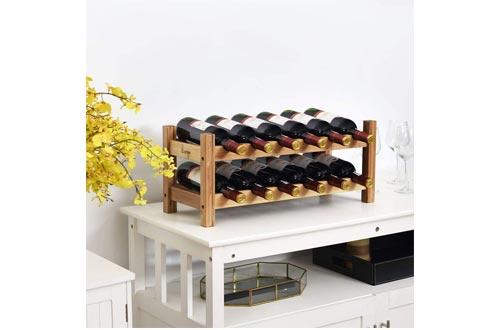 COSTWAY Wine Rack, Bamboo 12 Bottles 2-Tier Wine Display Rack for Countertop Home Kitchen Pantry