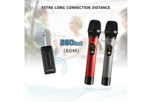 Wireless Microphone, UHF Wireless Dual Handheld Dynamic Mic System Set with Rechargeable Receiver